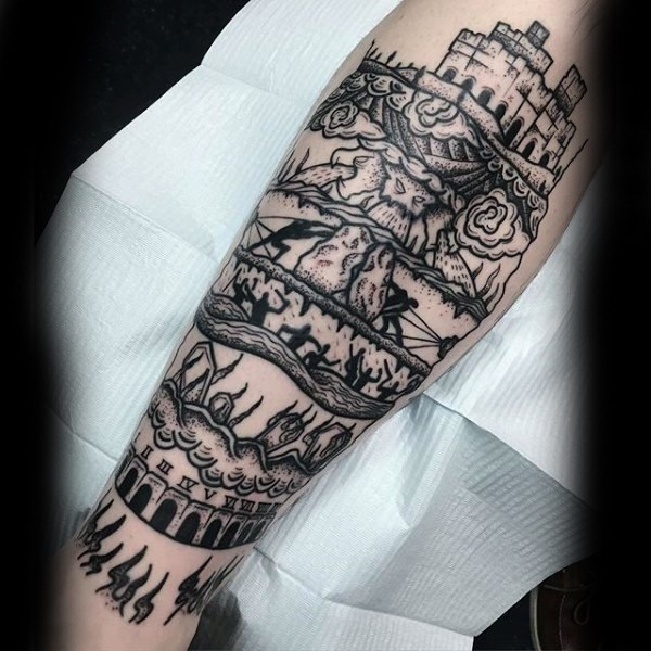 Spectacular black ink leg tattoo of various times picture