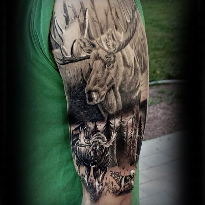 Spectacular black ink shoulder tattoo of detailed elk with wolf