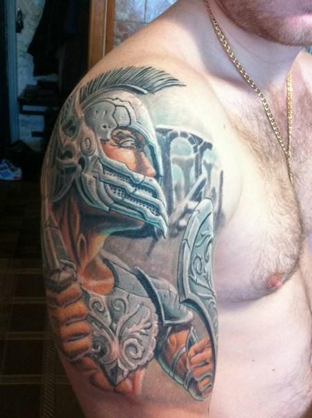 Spectacular cartoon style colored shoulder tattoo of fantasy ancient warrior