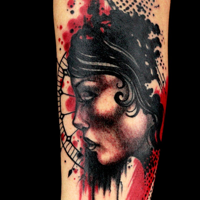Spectacular colored arm tattoo of beautiful woman with ornaments