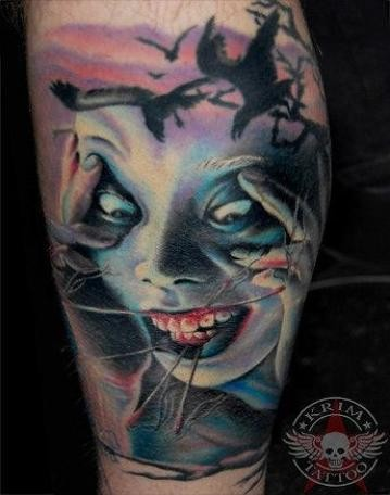 Spectacular colored horror style creepy woman with crows tattoo