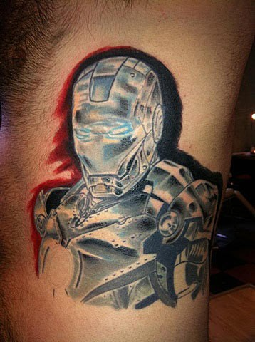 Spectacular colored side tattoo of Iron man