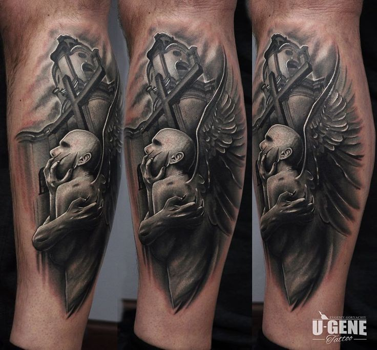 Spectacular detailed demonic angel tattoo on leg with cross and church