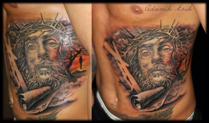 Spectacular dramatic religious style side tattoo of Jesus portrait
