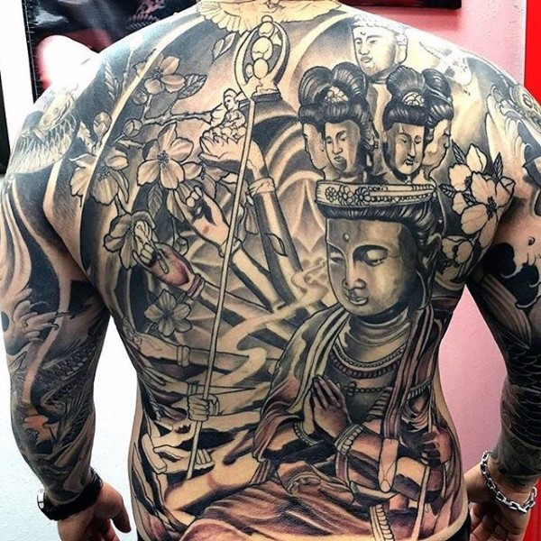 Spectacular Hinduism Style Large Colored Whole Body Tattoo