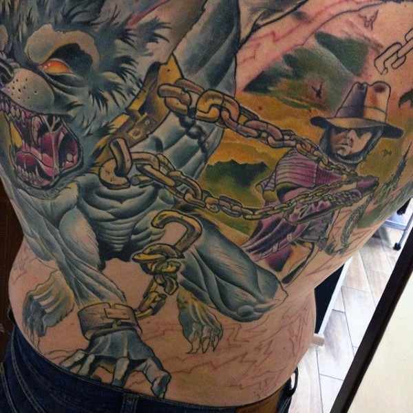 Spectacular illustrative style colored back tattoo of man with werewolf with golden chain