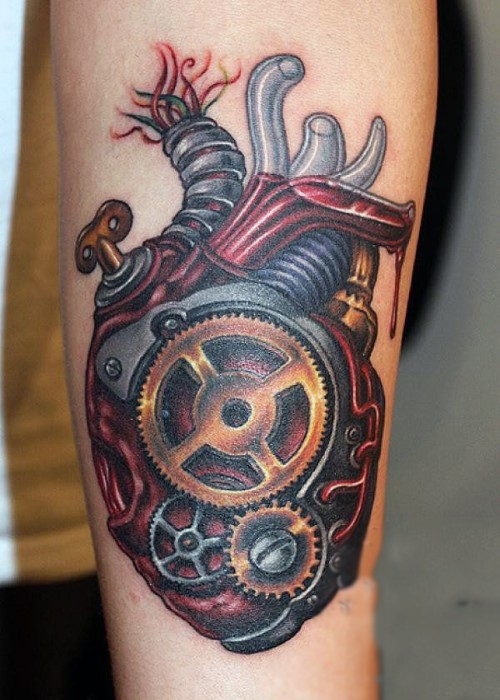 Spectacular illustrative style colored biomechanical human heart tattoo on forearm