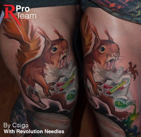 Spectacular illustrative style thigh tattoo of little squirrel with chemicals