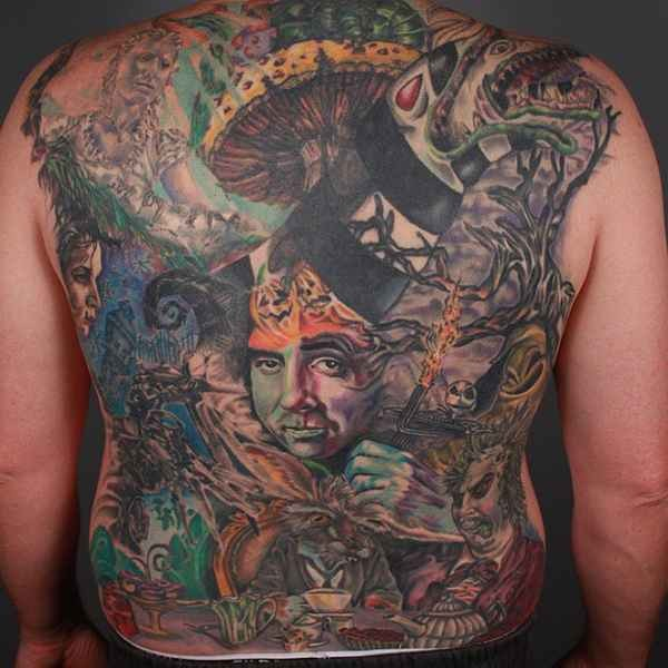 Spectacular large multicolored fantasy monsters tattoo on whole back