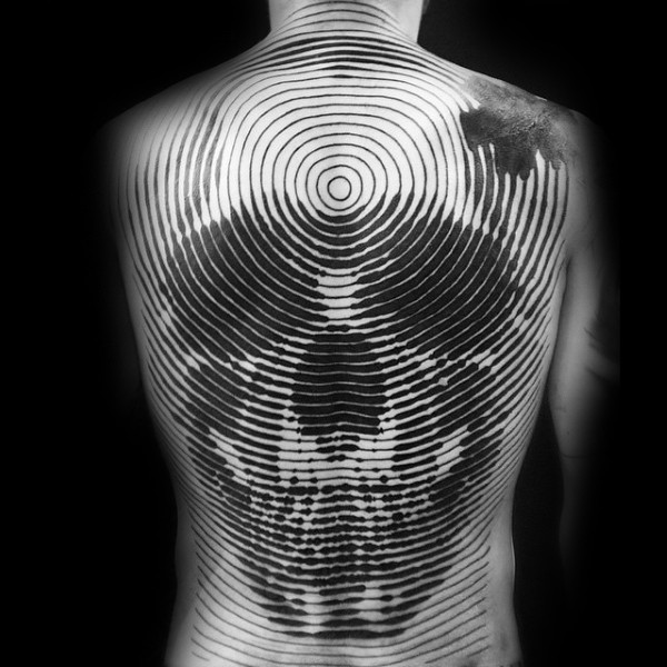 Spectacular linework style tattoo on whole back stylized with skull