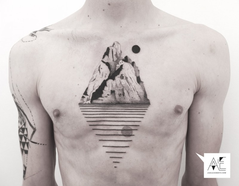 Spectacular looking black ink chest tattoo of mountain island