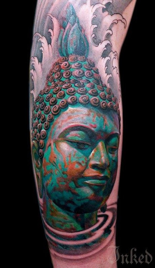 Spectacular looking new school style colored forearm tattoo of Buddha statue