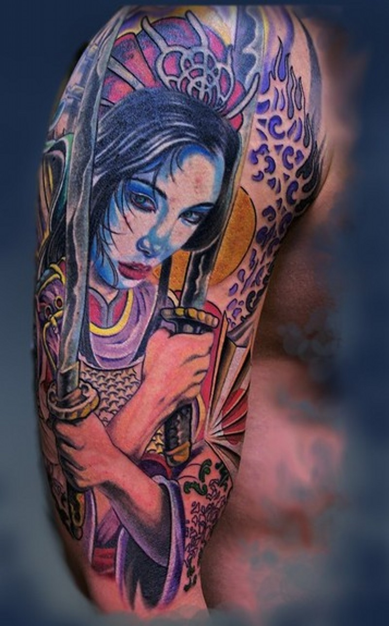 Spectacular multicolored shoulder tattoo of Asian woman warrior