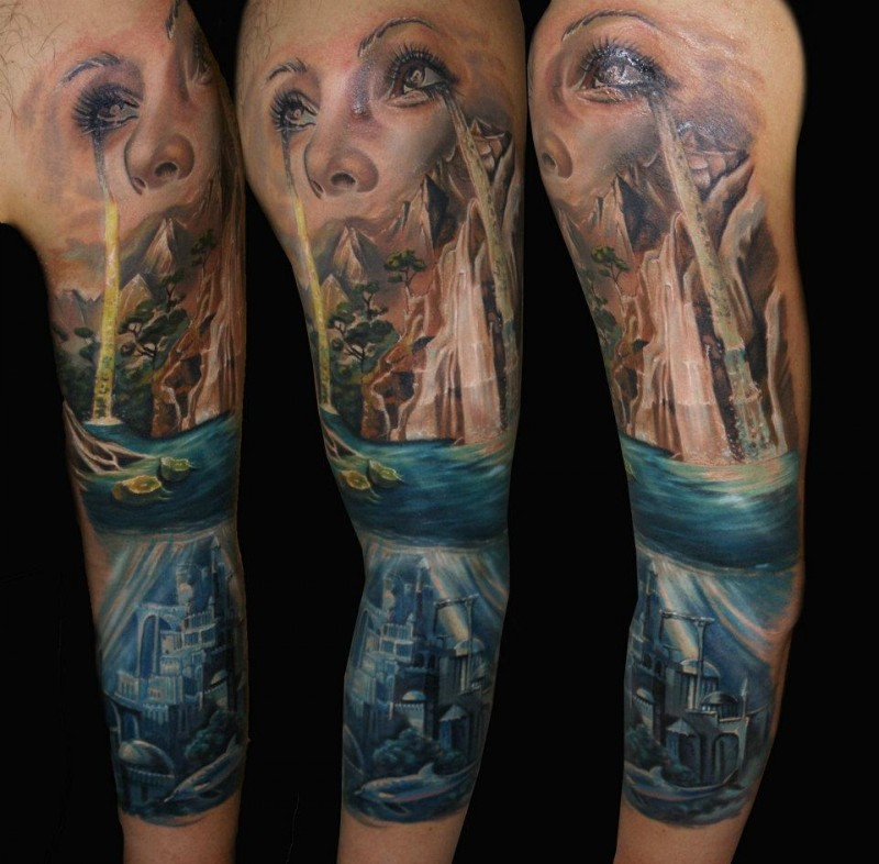 Spectacular multicolored sleeve tattoo of beautiful waterfall with underwater city and woman face