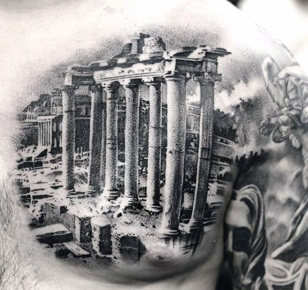 Spectacular real lifelike black ink realism style chest tattoo of ancient Greece ruins