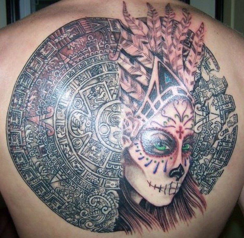 Spectacular very detailed bloody Mayan tablet tattoo on back combined with tribal woman portrait