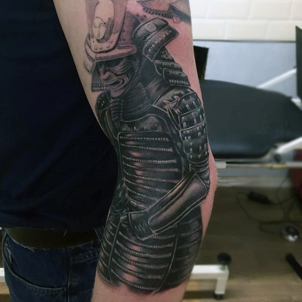 Spectacular very realistic detailed Samurai warrior tattoo on elbow