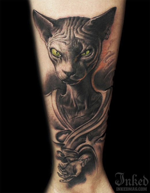 Sphinx cat with green eyes tattoo by LittleDragon