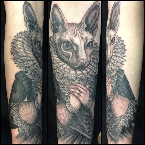 Sphynx cat with a ruff and renaissance dress tattoo by Maud Dardeau
