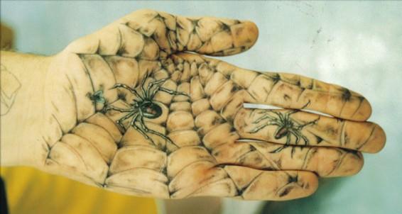 Spider web tattoo on palm
