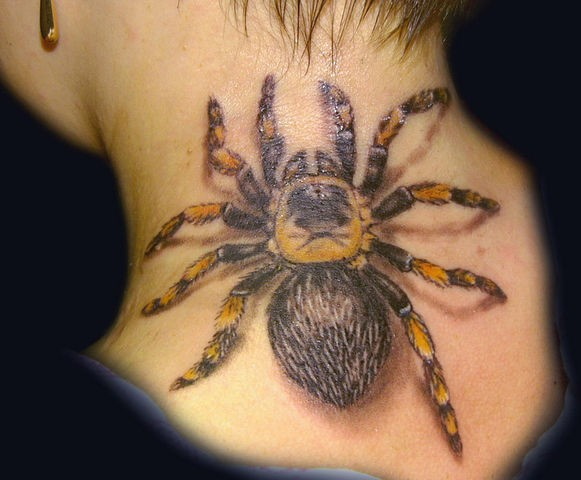 Spider with yellow legs tattoo on neck