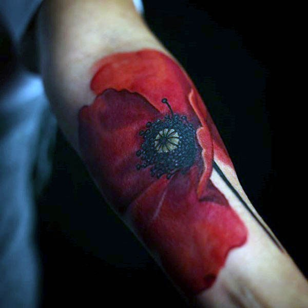 Splendid 3D realistic detailed naturally colored big poppy flower tattoo on arm