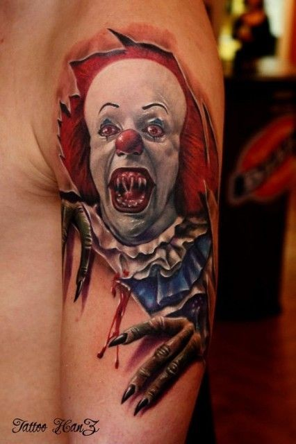 Spooky clown skin rip tattoo by hanz pennywise for Skin gallery tattoo