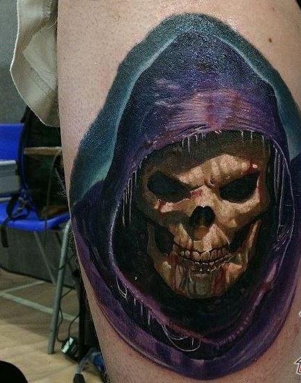 Spooky colorful grim reaper tattoo