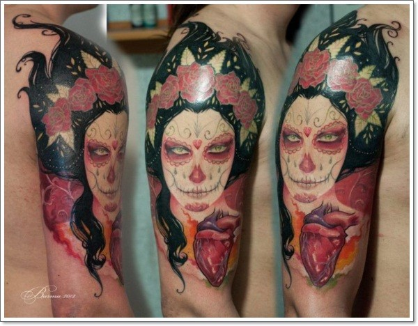 Spooky day of the dead girl and realistic heart tattoo on half sleeve