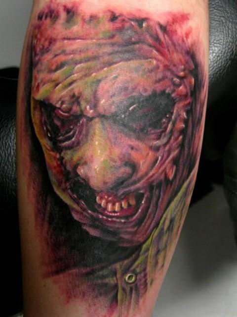 Spooky leatherface horror tattoo