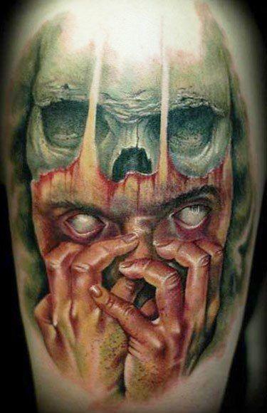 spaventoso nightmare orrore tatuaggio colorato