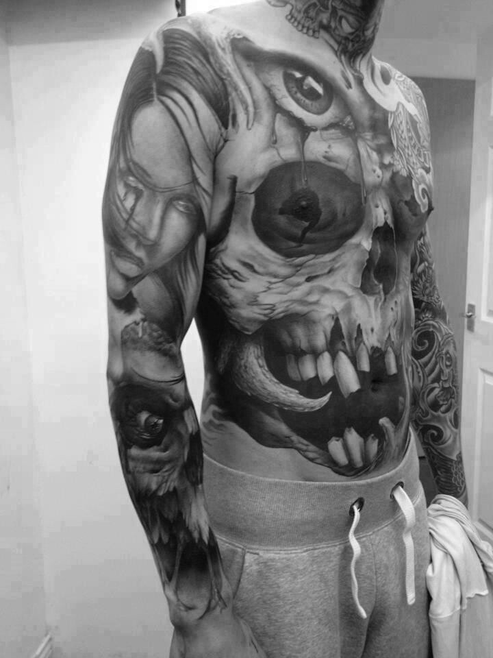 Spooky realistic detailed skull tattoo on whole body