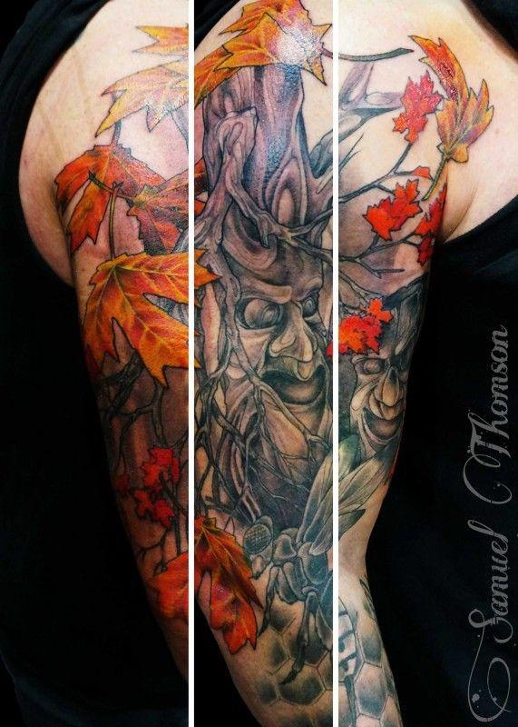 Spooky Tree Tattoo On Half Sleeve By Samuel Thompson Tattooimagesbiz