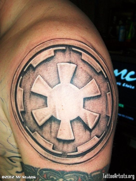 Star Wars Galactic Empire symbol 3D style tattoo on arm top