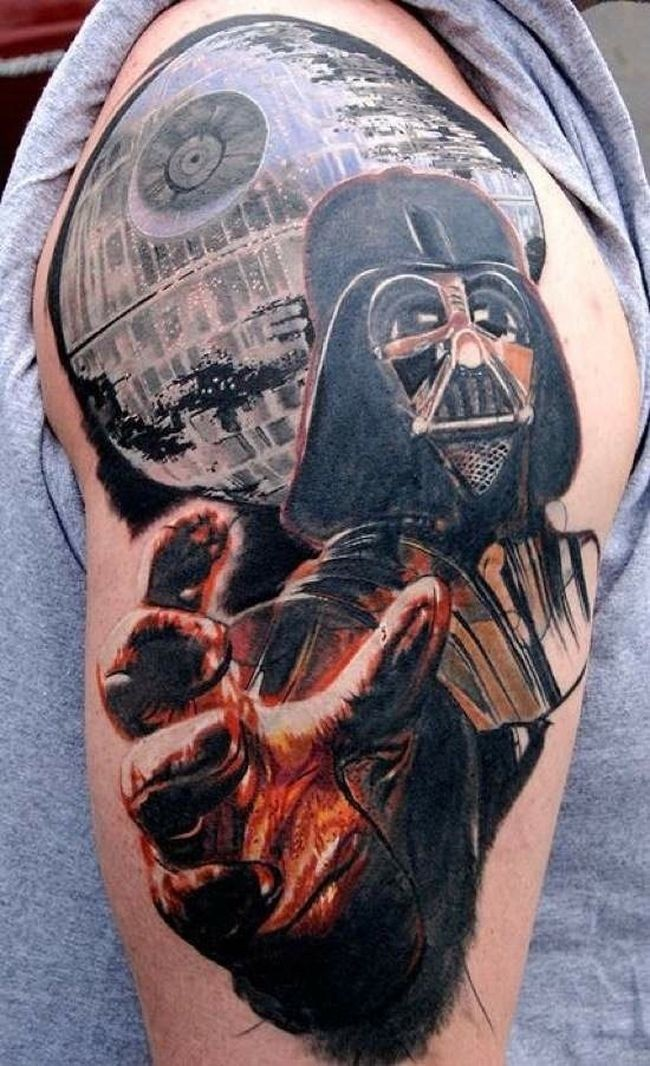 Star Wars hero Darth Vader straching giant hand with space background colored tattoo on man&quots shoulder