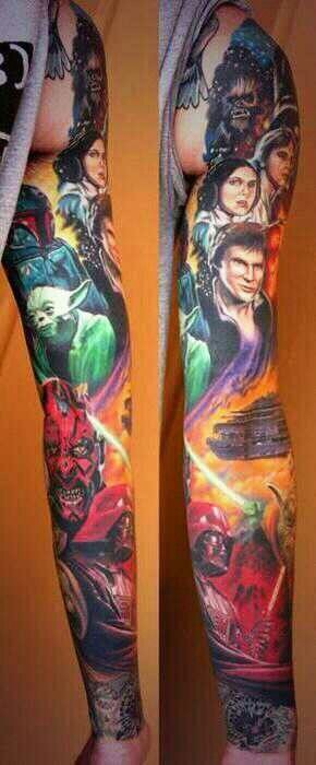 Star Wars heroes multicolored realistic sleeve tattoo