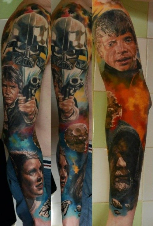 Star Wars main characters multicolored 3D realistic sleeve tattoo