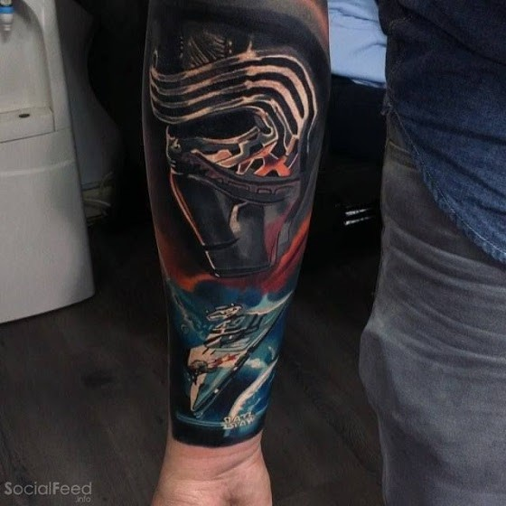 Star Wars themed colored arm tattoo of new Sith with big Star ship