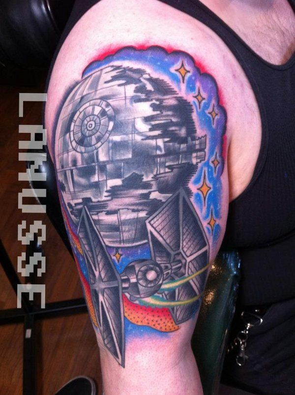 Star Wars themed colored shoulder tattoo