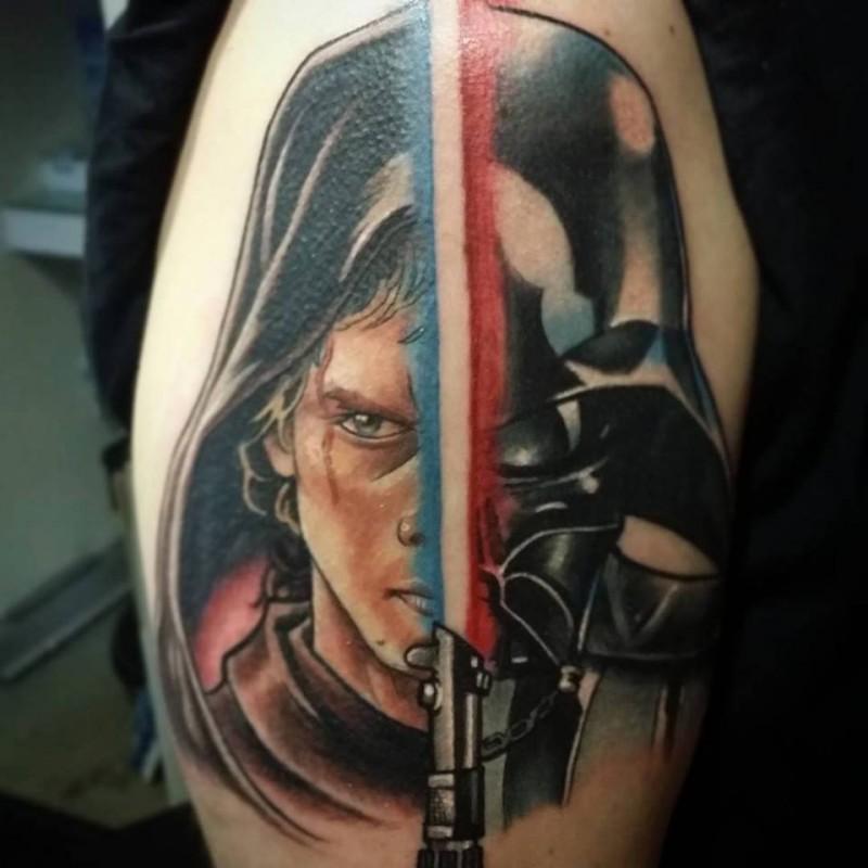 Star Wars themed colored shoulder tattoo of Darth Vader