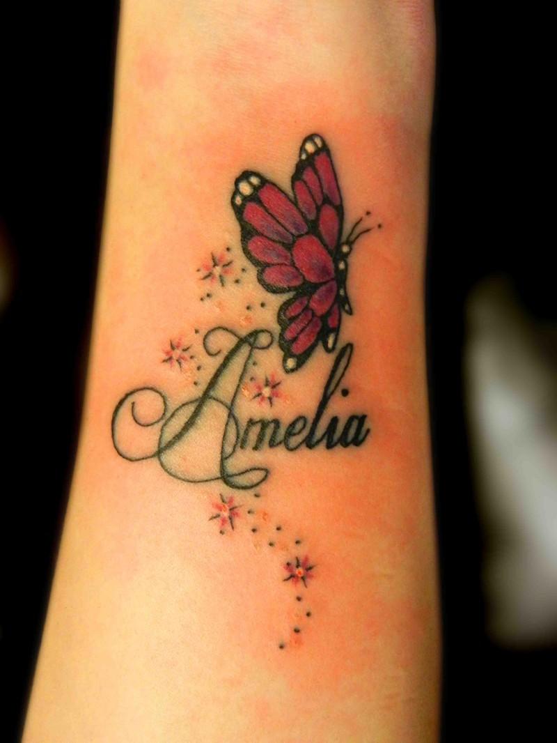 Stars twinkles butterfly wrist tattoos wit lettering