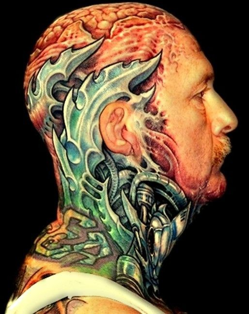 Steel plates and mechanisms tattoo on head and neck