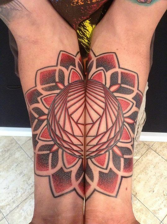 Stipplig style colored forearm tattoo of big flower