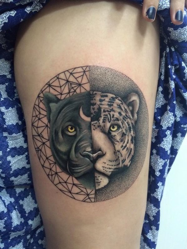 Stippling style black and white thigh tattoo of black panther and leopard
