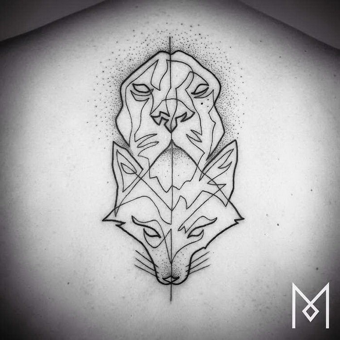 Stippling style black ink back tattoo fo fox and lion heads