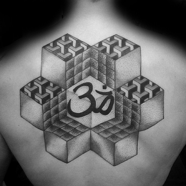 Stippling style black ink back tattoo of various geometrical ornaments and symbol
