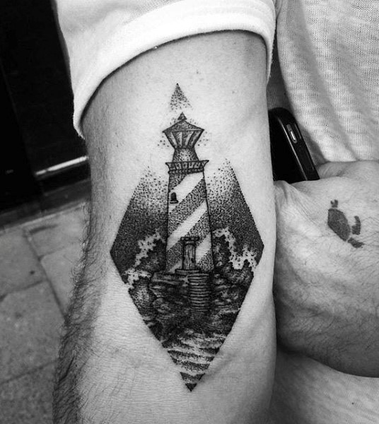 stippling style black ink biceps tattoo of lighthouse and waves. Black Bedroom Furniture Sets. Home Design Ideas