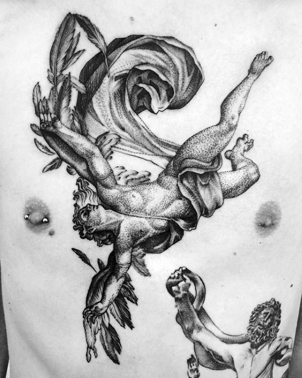 Stippling style black ink chest and belly tattoo of falling Icarus