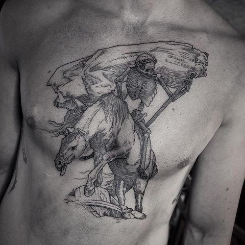 Stippling style black ink chest tattoo of demonic horse with skeleton
