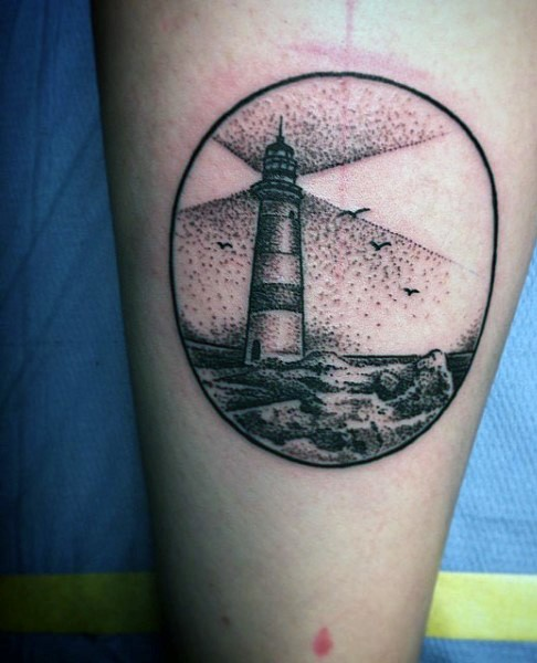 Stippling style black ink circle shaped arm tattoo of light house with birds